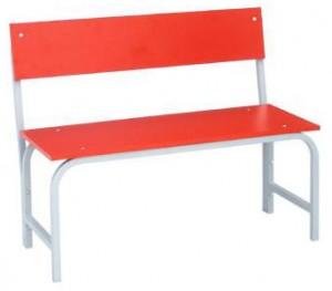 Скамья гардеробная со спинкой 1000 (ЛДСП) красная