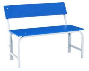 Скамья гардеробная со спинкой 1000 (ЛДСП) синяя